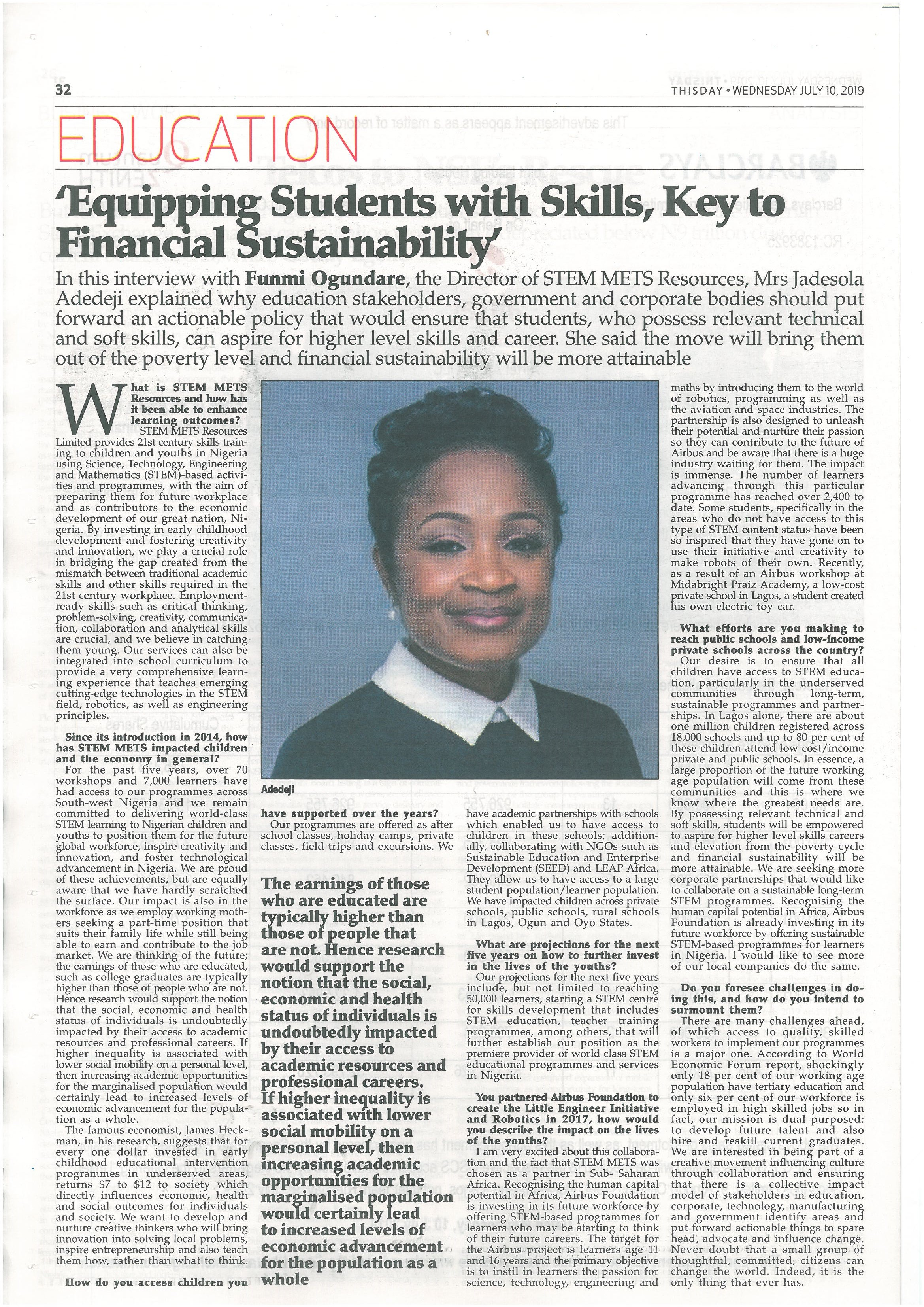 Equipping Students with Skills, Key to Financial Sustainability