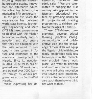 STEM METS Resources Marks 5th Anniversary in Nigeria